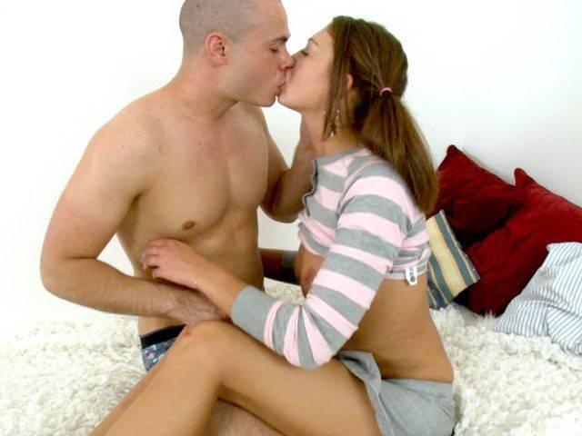 Lovely teenage girlfriend in pigtails Iveta getting slick pussy screwed from behind