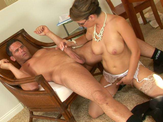 Busty mature wench in pantyhose Holly West gets slick beaver fucked on the table