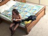 Erotic brunette voyeur girl Veranika stripping and teasing with nylons